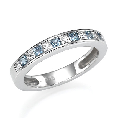 Wedding or anniversary Princess diamonds and Aquamarines ring