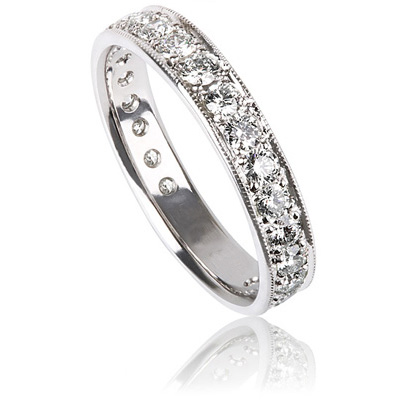 3mm Wedding band with 0.65 Carat round diamonds