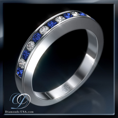 Anniversary / Wedding ring 7 diamonds 0.30 carats  and 7 Blue Sapphires
