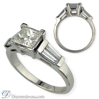 0.82 Carats, Princess, Engagement ring with side stones settings