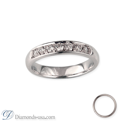 Wedding band, 3.7mm, set with 7 diamonds 0.26 carats