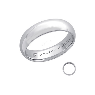 Diamond and inscription  Wedding Band-5.6mm width