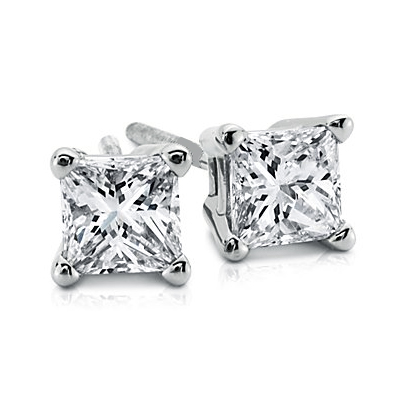 0.67 Carats, Princess, Finished,Princess cut diamonds earring studs.