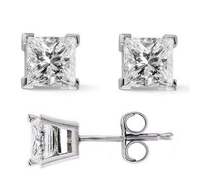 0.68 Carats, Princess, Finished,Princess cut diamonds earring studs.