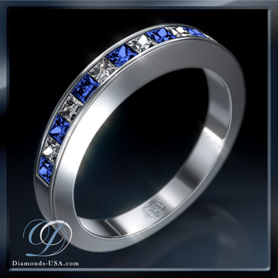 0.59 carats Princess diamonds and 7 Ceylon Blue Sapphires wedding or Anniversary ring