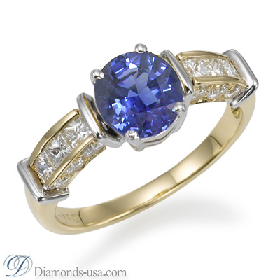 1.00 carat Blue Sapphire and diamonds ring