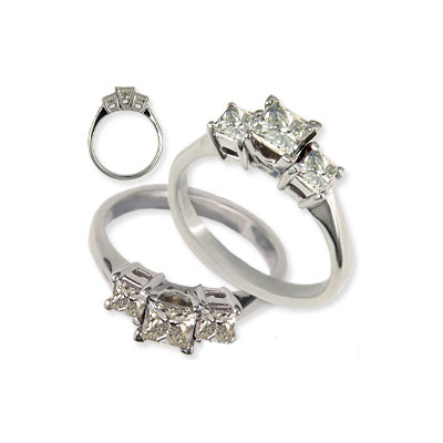 Princess cut three stone engagement ring