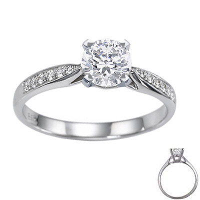 0.3 Carats, Oval, Engagement ring with side stones settings
