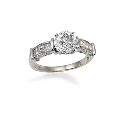 0.36 Carats, Cushion, Engagement ring with side stones settings, finished