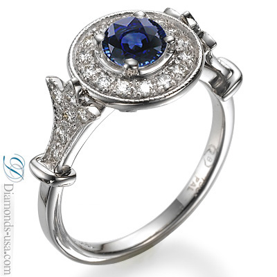 1.30 carat Blue Sapphire and diamonds engagement ring, Victorian Style,