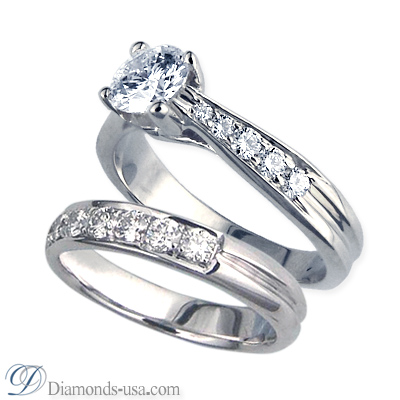 1.03 Carats, Round, Engagement and Wedding Diamond Rings Set