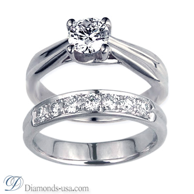 0.44 Carats, Round, Engagement and Wedding Diamond Rings Set