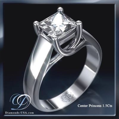 1.06 Carats, Princess, Engagement ring, solitaire diamond, Finished