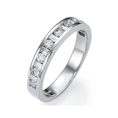 Round and Baguette diamonds wedding band, 0.70carat
