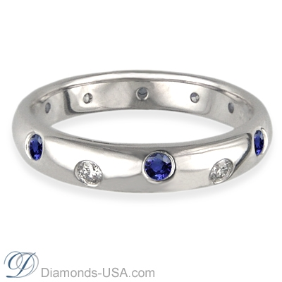 Six Diamonds Six Blue Sapphires wedding band-3.7mm width