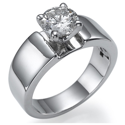 wide solitaire engagement ring