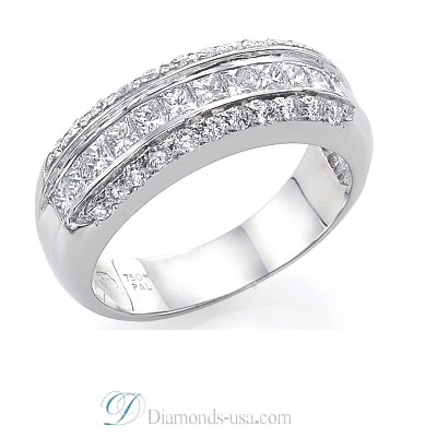 1Carat Princess and Round Diamonds Wedding Band