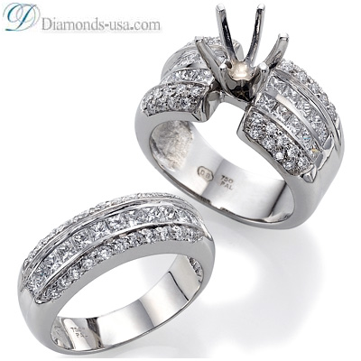 0.71 Carats, Round, Engagement and Wedding Diamond Rings Set
