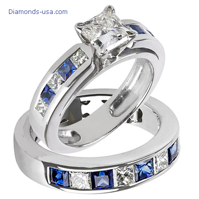 0.79 Carats, Emerald, Engagement and Wedding Diamond Rings Set