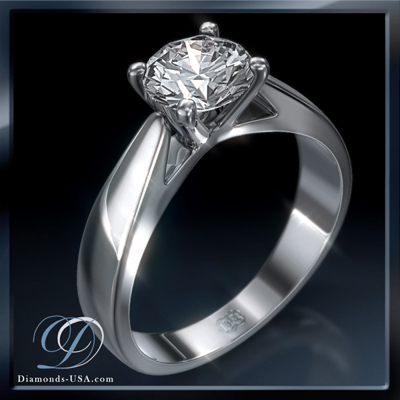 1.07 Carats, Round, Settings, solitaire ring.
