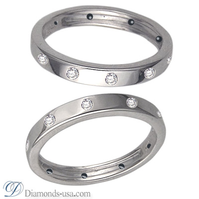 One ring, 3 mm, Flat surface wedding ring set with 10 diamonds 0.18cts