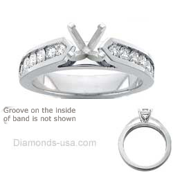 0.73 Carats, Round, Engagement ring with side stones settings