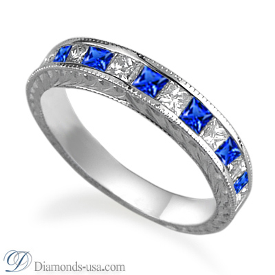 Blue Sapphires and diamond Princess antique style wedding or anniversary band