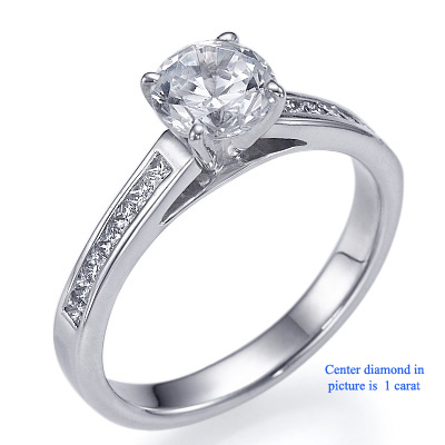 3 mm Engagement ring with side Princess diamonds