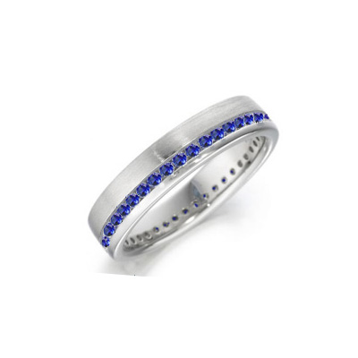 1.40 carats Royal Blue sapphire weddind band for you & her