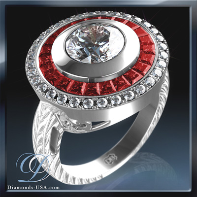 Antique engagement ring Replica,  red Rubies