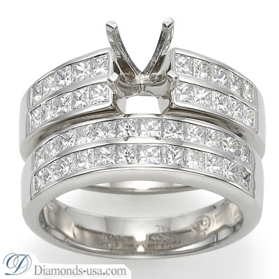 3.02 Carats, Radiant, Engagement and Wedding Diamond Rings Set