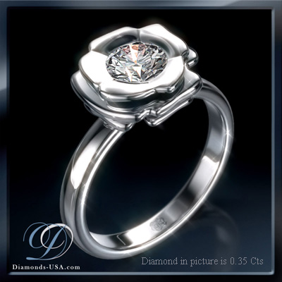 0.27 Carats, Round, Engagement ring, solitaire diamond