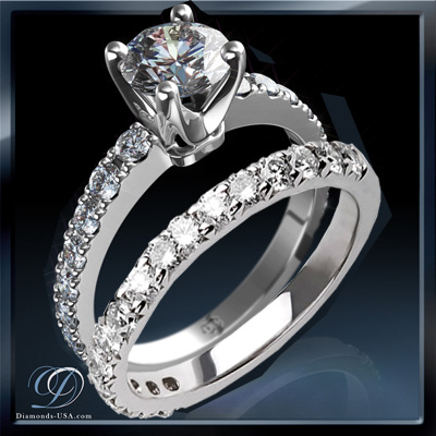 0.92 Carats, Princess, Engagement and Wedding Diamond Rings Set