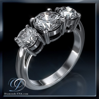 0.63 Carats, Round, Three diamonds Ring