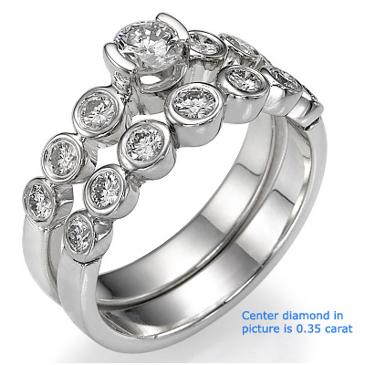 0.24 Carats, Round, Semi Set,Engagement and Wedding diamond ring sets