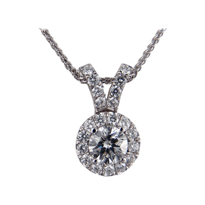 The Halo diamonds Pendant 3/4 carat sides.