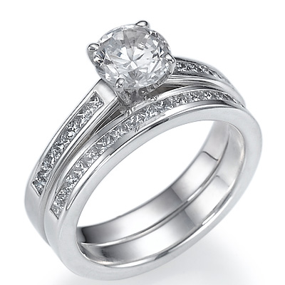 0.79 Carats, Emerald, Semi Set,Engagement and Wedding diamond ring sets