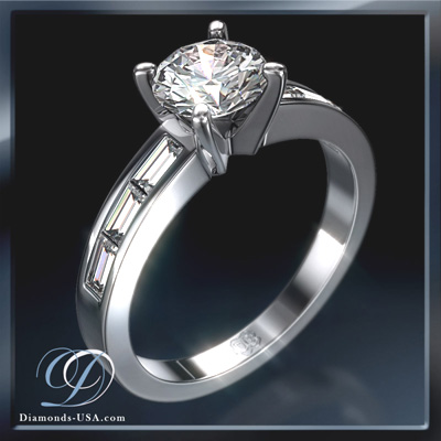 0.17 Carats, Round, Engagement ring with side stones settings