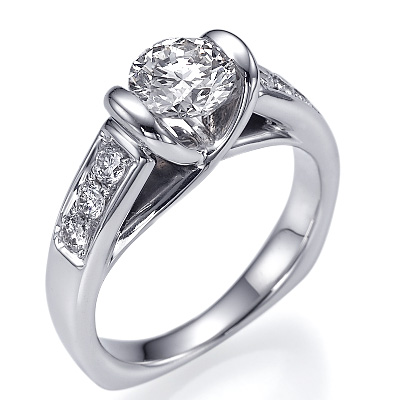 Like tension engagement ring with 1/4Cts sides