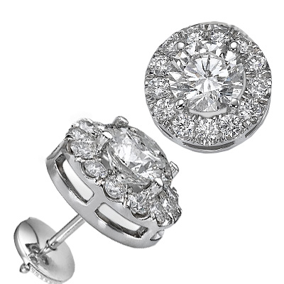 Round diamonds Halo earring studs