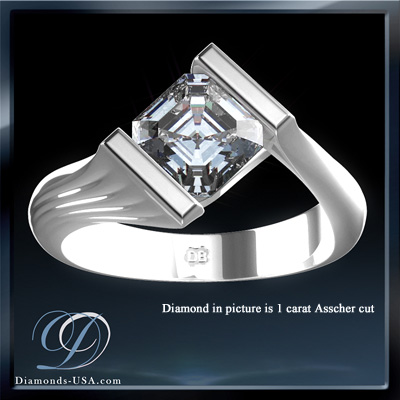 1.07 Carats, Princess, Engagement ring, solitaire diamond