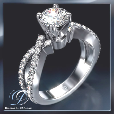0.42 Carats, Cushion, Engagement ring with side stones settings