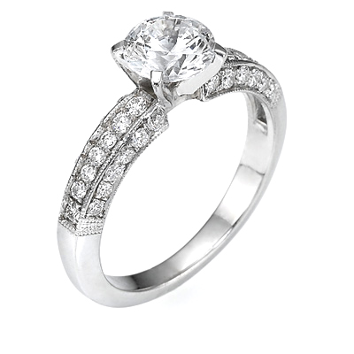 0.79 Carats, Marquise, Engagement ring with side stones settings