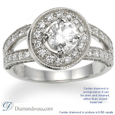0.44 Carats, Round, Engagement ring with side stones settings